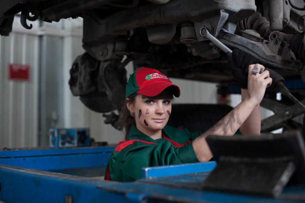 Mechanic working under a vehicle